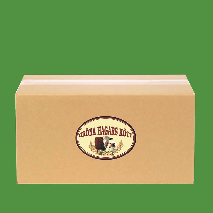 Låda med ekologiskt lammkött från Gröna Hagars Kött.